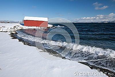 Norwegian winter fjord landscape