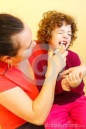 Nose clearing spray used by mother