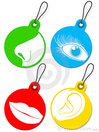 Nose, eye, mouth and ear pictogram tags collection