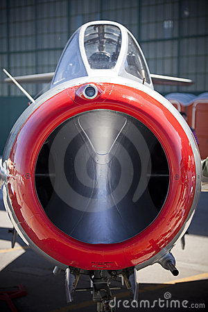 Nose of vintage fighter jet