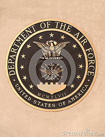 Nosotros departamento de la placa de la fuerza aérea Imagen de archivo editorial