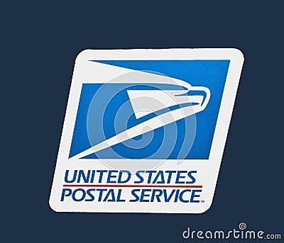 Nosotros insignia del servicio postal Fotografía editorial