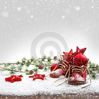 Free Nostalgic Christmas Decoration With Antique Baby Shoe Stock Photo - 39674470
