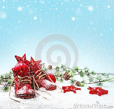 Free Nostalgic Christmas Decoration With Antique Baby Shoe Royalty Free Stock Photos - 39675408