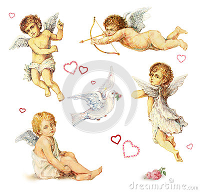 Free Nostalgic Design Elements: Angels, Doves And Roses Royalty Free Stock Image - 31336516