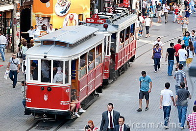 Nostalgic trams of Beyoglu, Istanbul Editorial Stock Photo