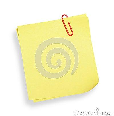 Nota adesiva amarela (com trajeto de grampeamento)