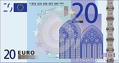 Nota de banco de 20 euro.