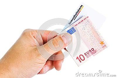 Nota de banco e cartão de saúde eletrônico