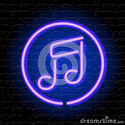 Nota de néon da música na parede de tijolo