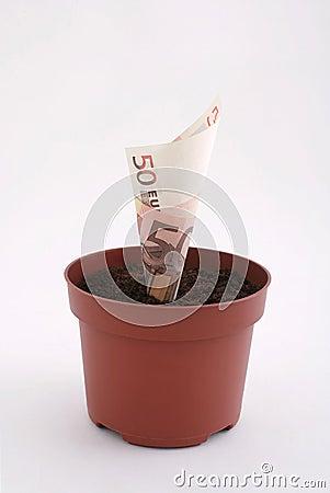 Nota del dinero en el crisol