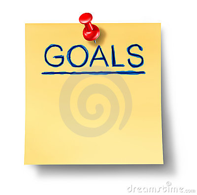 Nota do escritório do planeamento da estratégia dos objetivos isolada