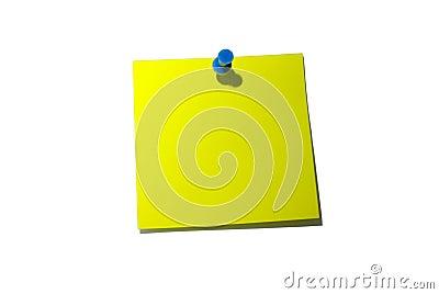 Nota pegajosa amarela. Com trajeto de grampeamento.
