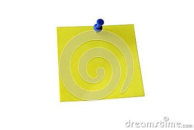 Nota pegajosa amarela. Trajeto de grampeamento.
