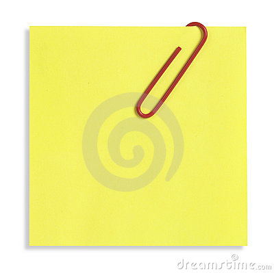 Nota pegajosa amarilla aislada
