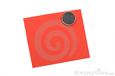 Nota vermelha em branco com ímã