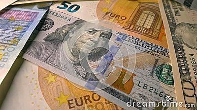 Notas de moeda euro, antecedentes em dólares Dinheiro, finanças vídeos de arquivo