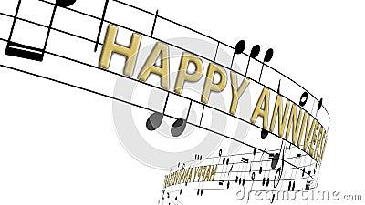 Notas musicales fluyen con mensajes feliz aniversario en color oro stock de ilustración