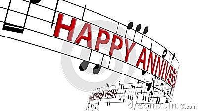 Notas musicales fluyendo con mensajes feliz aniversario en color rojo ilustración del vector