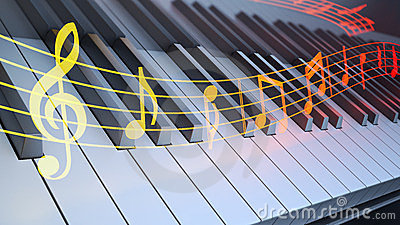 Notation over piano keyboard