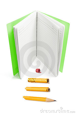 Note Book and Broken Pencil