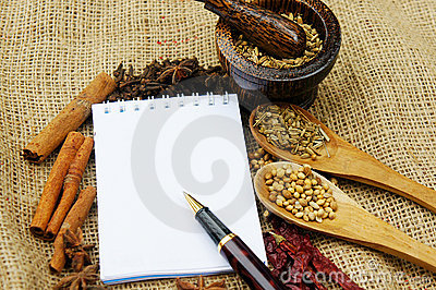 Note book and herb