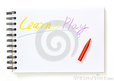 Note book with learn and play text