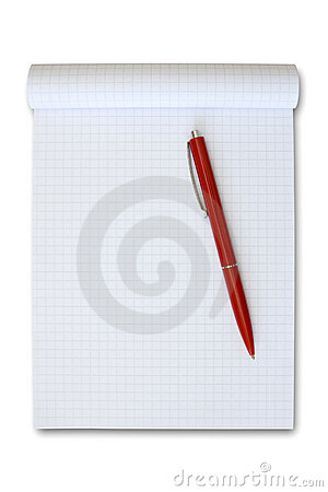 Note book with red pen.