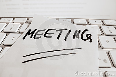 Note on computer keyboard: meeting