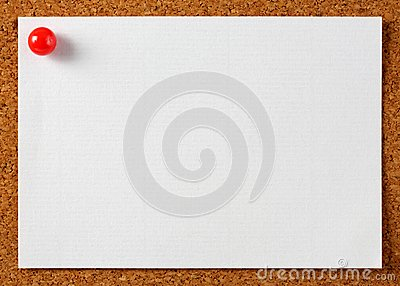 Note memo paper with red pin