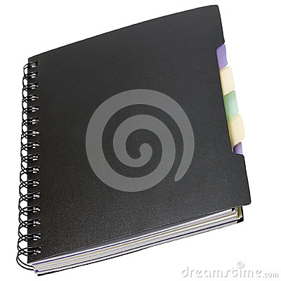 Note pad black on spiral