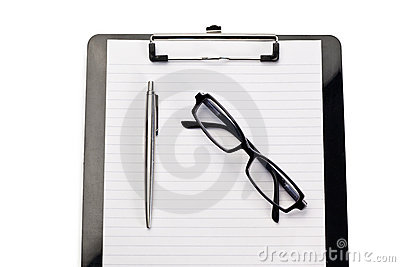 Note pad, pen and glasses