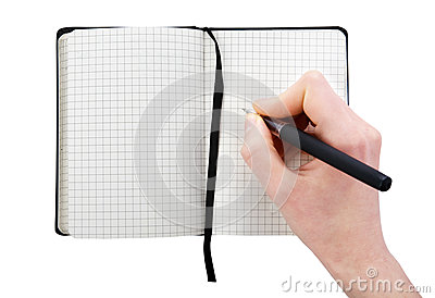 Note pad with pen and hand