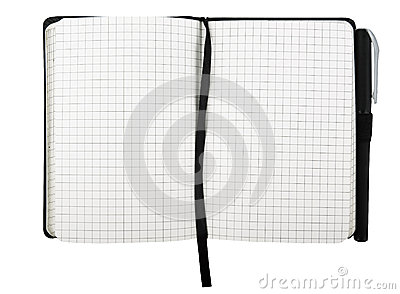 Note pad with pen isolated