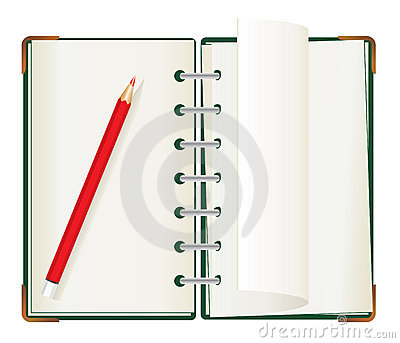 Note pad with red crayon
