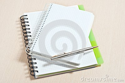 Note pad and silver pen