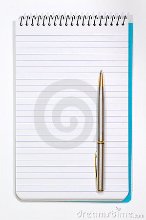 Note Pad With White Pages and Pen