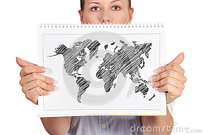 Note pad with world map