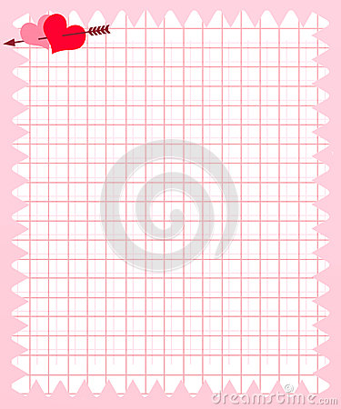 Note Paper of Pink Square with Heart and Arrow