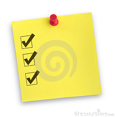 Free Note With Completed Checklist Royalty Free Stock Image - 3464626