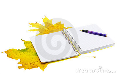Notebook and autumn leaves