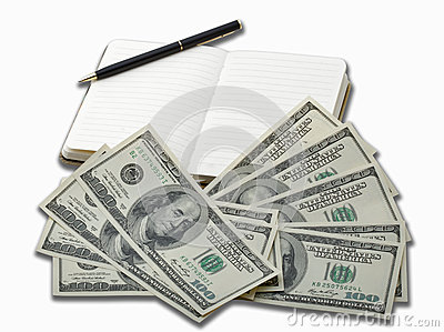 Notebook with black pen and 100 dollar banknotes