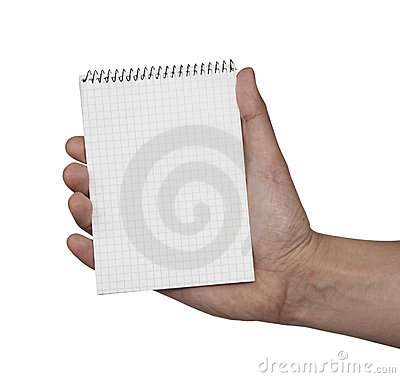Notebook blank paper and hand