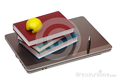 Notebook, books and half an apple