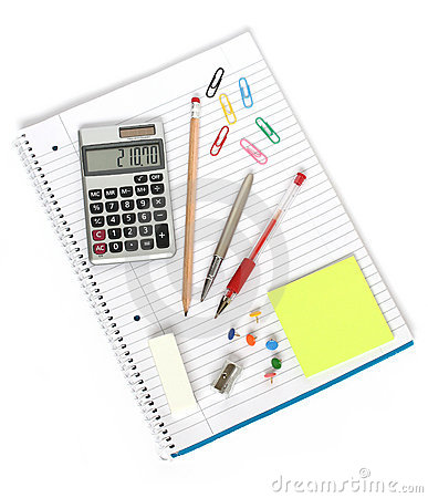 Notebook calculator pen pencil sharpener eraser