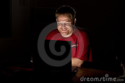 Notebook Computer User Smiling