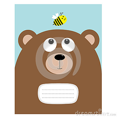 Free Notebook Cover Composition Book Template. Bear Grizzly Big Head Looking At Honey Bee Insect. Cute Cartoon Character. Forest Baby A Royalty Free Stock Image - 80302256