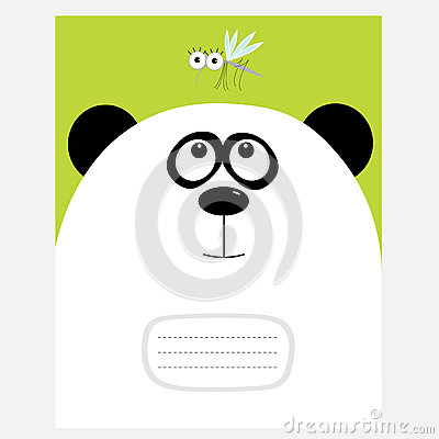 Free Notebook Cover Composition Book Template. Panda Bear Big Head Looking At Honey Mosquito Insect. Cute Cartoon Character. Baby Anima Royalty Free Stock Photo - 81072805