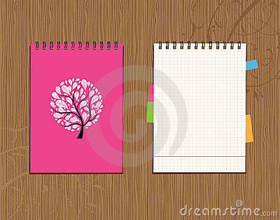 Notebook cover and page design