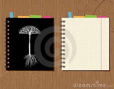 Notebook cover and page design, wooden background